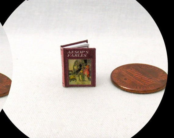 "1:24 Scale Book AESOP'S FABLES Miniature Book Dollhouse Illustrated Book Half Inch Scale Fairy Tale Once Upon A Time 1/2"" Scale"