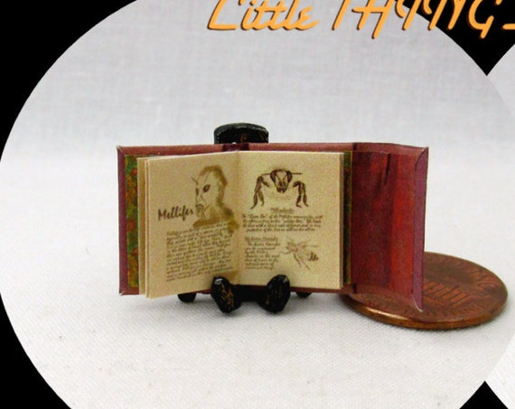 "1:24 Scale BOOK Of WESEN LORE Grimm Miniature Book Dollhouse Illustrated Book Potter Magic Witch Wizard 1/2"" Scale"