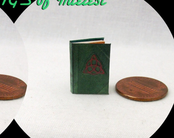 1:24 Scale Book CHARMED BOOK Of SPELLS Miniature Book Dollhouse Illustrated Book Potter Magic Witch Wizard