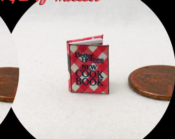 "1:24 Scale Book BETTER HOMES And GARDEN Cookbook Miniature Book Dollhouse Illustrated Book Half Inch 1/2"" Scale Tiny Food"