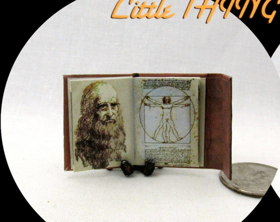 LEONARDO Da VINCI'S Notebook Illustrated Miniature Book Dollhouse 1:12 Scale Book Art Artist