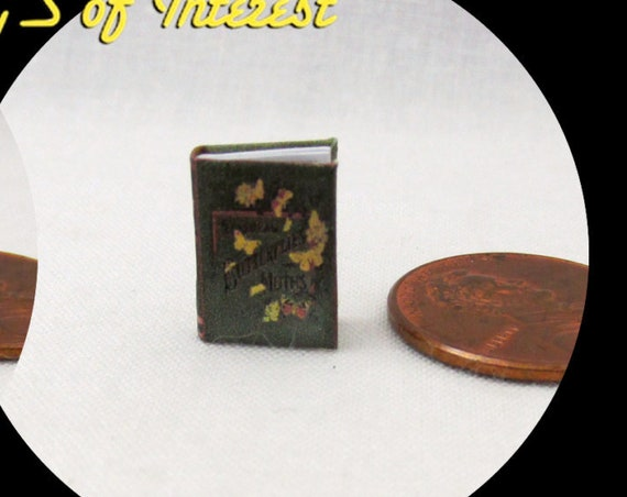 """1:24 Scale BUTTERFLIES And MOTHS Miniature Book Dollhouse Color Illustrated Book 1/2"""" Scale"""