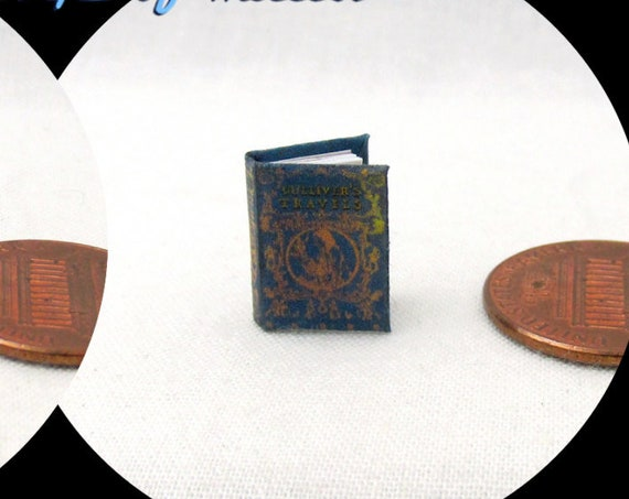 "1:24 Scale GULLIVER'S Travels Illustrated Miniature Book Dollhouse Book 1/2"" Scale"