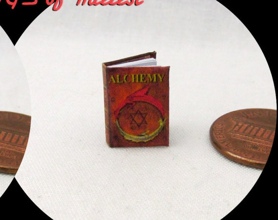 "1:24 SCALE BOOK ALCHEMY Miniature Book Dollhouse Illustrated Book Potter Magic Wizard Witch 1/2"" Scale"