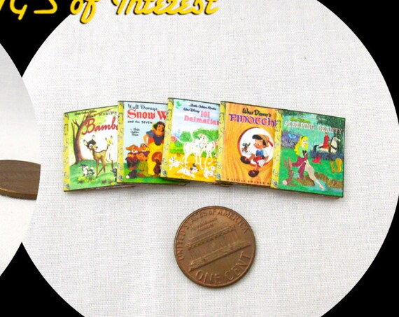 5 DISNEY GOLDEN BOOKS Miniature Book Dollhouse 1:12 Scale Prop Books Snow White Bambi 101 Dalmatians Pinocchio Sleeping Beauty Faux Books