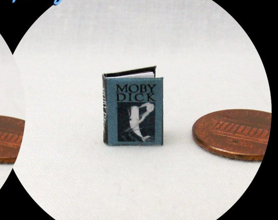 "1:24 Scale Book MOBY DICK Miniature Book Dollhouse Illustrated Book 1/2"" Scale"