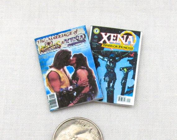 2 HERCULES & XENA COMIC Books Dollhouse Readable 1:12 Scale **2 For 1** Topps Comics Marriage of Xena Hercules Xena Warrior Princess Magic