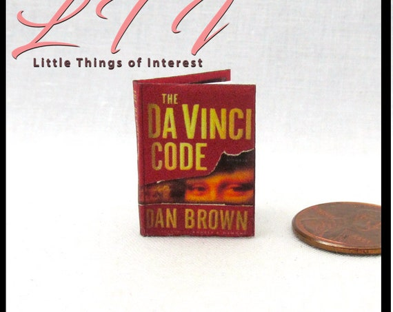 The DA VINCI CODE Miniature Book Dollhouse 1:12 Scale Book Readable Book by Dan Brown Templar Jesus Holy Grail Christianity Louvre