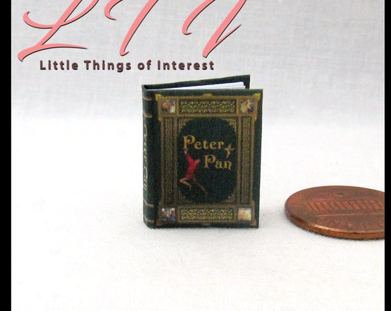PETER PAN Miniature Book Dollhouse 1:12 Scale Color Illustrated Book Fairy Tale Children's Book J. M. Barrie Wendy Captain Hook Neverland