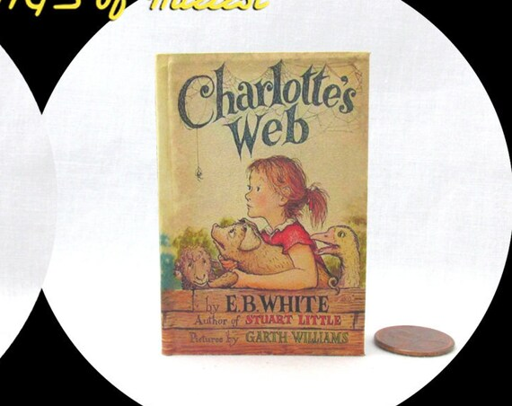 CHARLOTTE'S WEB Illustrated Book in 1:3 Scale Readable Book American Girl Doll 18 inch AG Doll 1/3 Scale