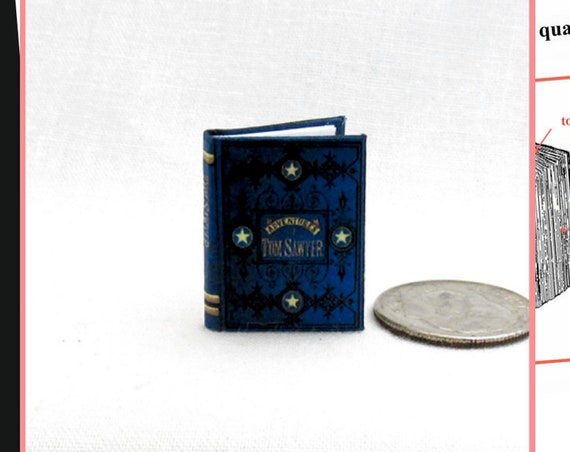 The Adventures of Tom Sawyer Dollhouse Miniature Book 1:12 Printable Download PDF Tutorial Instant Project Mark Twain novel