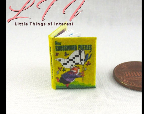 CROSSWORD PUZZLES Miniature Book Dollhouse 1:12 Scale Readable Illustrated Book