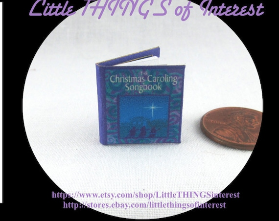 CHRISTMAS CAROLING SONGBOOK Miniature Book Dollhouse 1:12 Scale Readable Illustrated Lyric Noel Hymn Music Celebration Holiday Christ Born