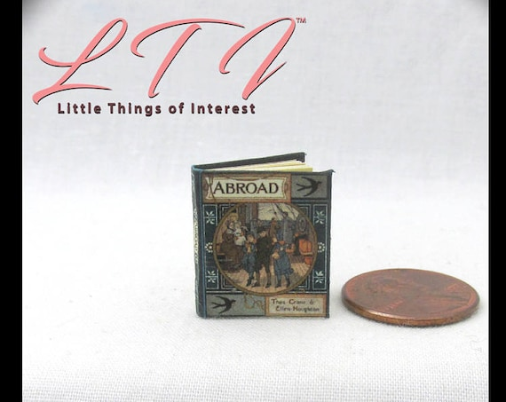 ABROAD Book PDF and Tutorial Download Printable 1:12 Miniature Dollhouse Scale Readable Illustrated Book Miniature Accessory Children's