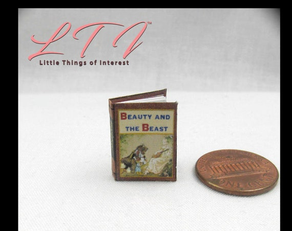 Kit BEAUTY And The BEAST Dollhouse Miniature Book PDF 12th Scale Openable Book Bell Disney Prince Princess Monster
