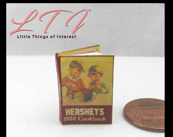 HERSHEY CHOCOLATE COOKBOOK Downloadable 1:12 Miniature Dollhouse Scale Book Cook Book Download Print Kitchen Stove Pan