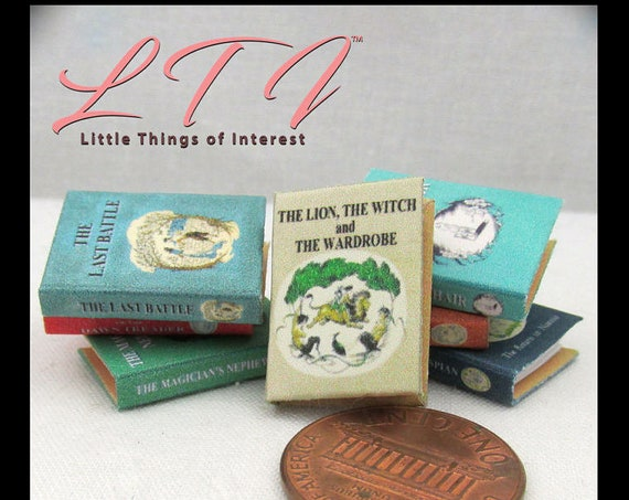7 The CHRONICLES OF NARNIA Dollhouse Miniature Book 1:12 –Full Set Tale Miniature Books Printable Download The Lion the Witch The Wardrobe