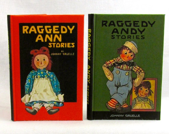 "RAGGEDY ANN & Raggedy ANDY Book Set 2 1:3 Scale Illustrated Readable Books 18"" Doll  Ag Doll 1/3 Scale Johnny Gruelle"