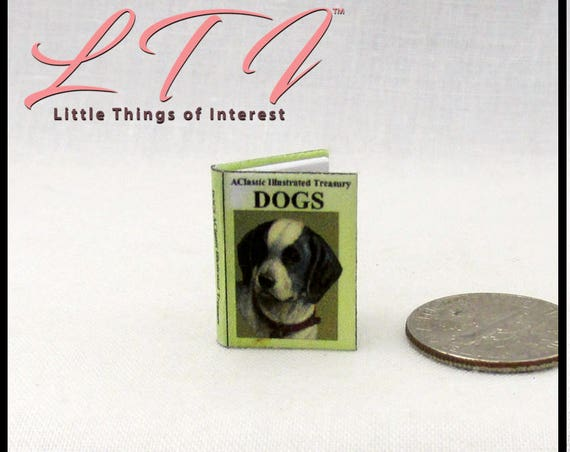 DOGS ILLUSTRATED TREASURY Dollhouse Miniature Book 1:12 Scale Illustrated Readable Book Animals Puppy