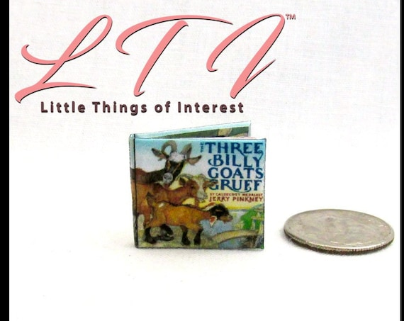 The THREE BILLY GOATs GRUFF Miniature Book Dollhouse Book 1:12 Scale Book Illustrated Readable Book Children's Story