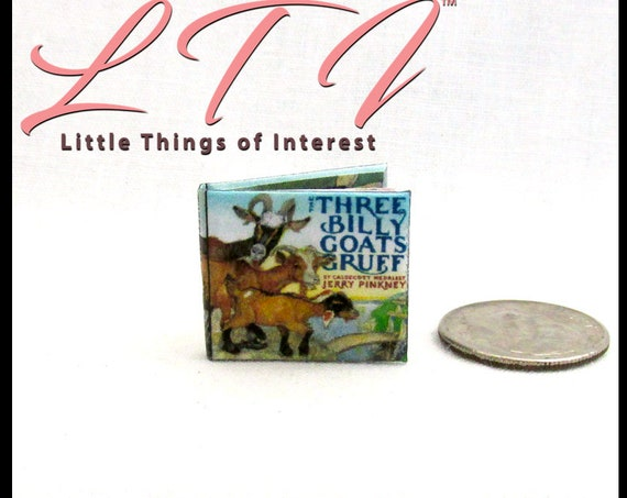 The THREE BILLY GOATs GRUFF Miniature Book Dollhouse Book 1:12 Scale Book Illustrated Readable Book