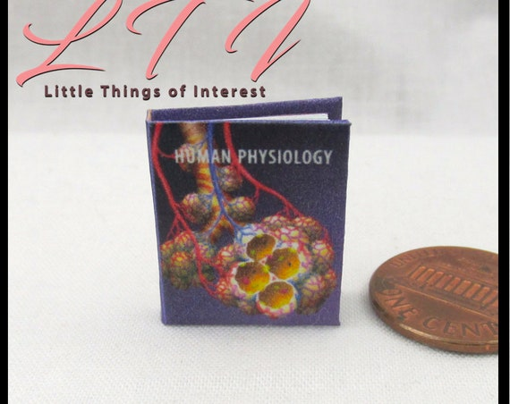 HUMAN PHYSIOLOGY Medical Textbook Miniature Book Dollhouse 1:12 Scale Readable Illustrated Book Doctor Nurse Medical Health Biology