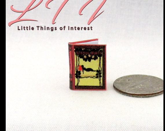 "1:24 Scale Book SLEEPING BEAUTY Miniature Book Dollhouse Illustrated 1/2"" Scale CHILDREN'S Book Arthur Rackham Disney"