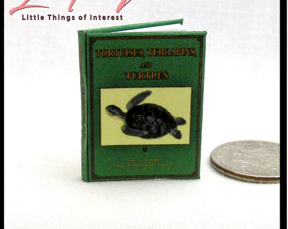 TORTOISES AND TURTLES Dollhouse Miniature Book 1:12 Scale Testudines Reptiles Land Water Ocean Sea
