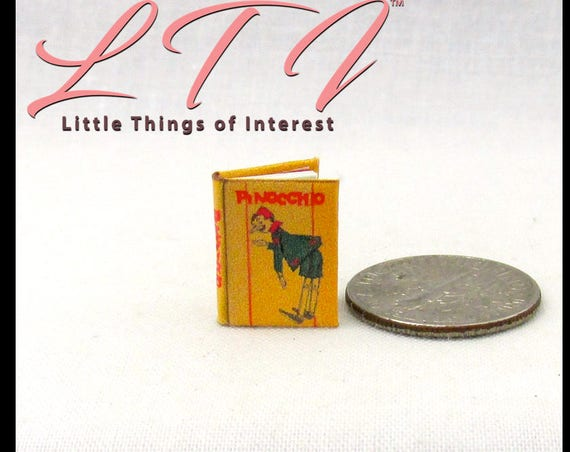 "1:24 Scale Book PINOCCHIO Miniature Dollhouse Illustrated Book 1/2"" Scale"