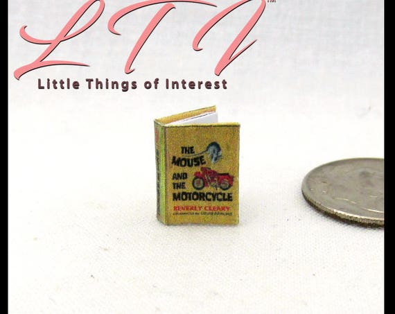 "1:24 Scale THE MOUSE And The MOTORCYCLE Illustrated Miniature Book Dollhouse 1/2"" Scale"