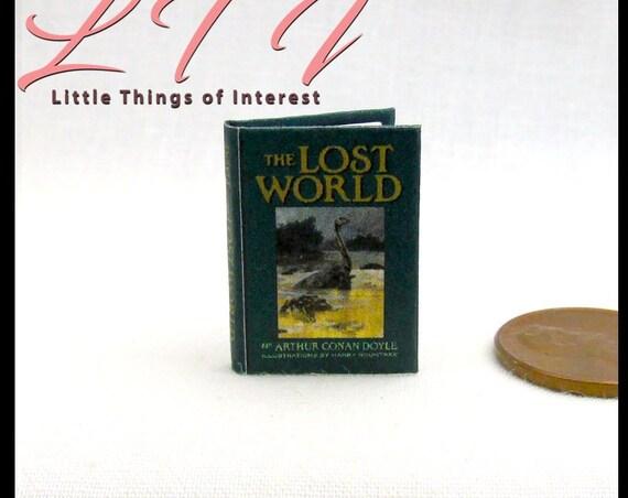 THE LOST WORLD Miniature Book Dollhouse 1:12 Scale Readable Illustrated Book Sir Arthur Conan Doyle Prehistoric Animals Dinosaurs