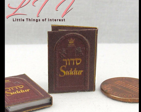 HEBREW ENGLISH SIDDUR Dollhouse Miniature Book 1:12 Scale Readable Book Jewish