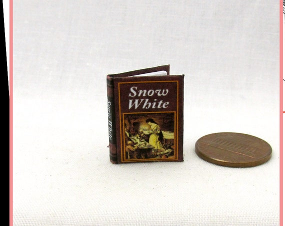 SNOW WHITE Book PDF and Tutorial Download Printable for 1:12 Miniature Dollhouse Scale Readable Illustrated Book Miniature Once Upon a Time