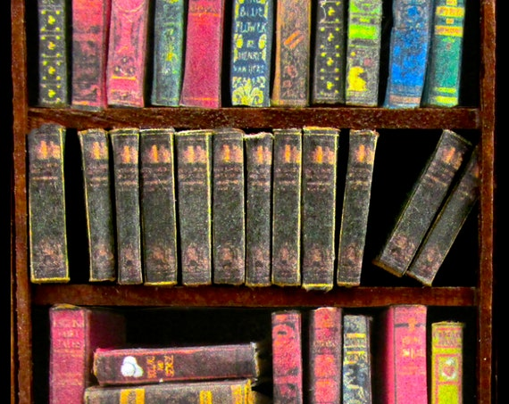 "1:24 Scale 12 ENCYCLOPEDIA BOOKS Miniature Books Prop Faux Fill a Bookshelf Paper Pages Reference Knowledge 1/2"" Scale"
