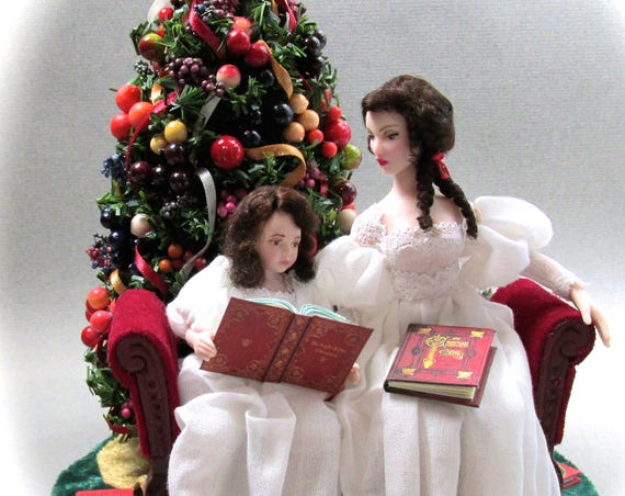 READING The Night Before Christmas OOAK Porcelain Miniature Dolls Presents Books Christmas Tree Settee Velvet Della Robbia Christmas Tree