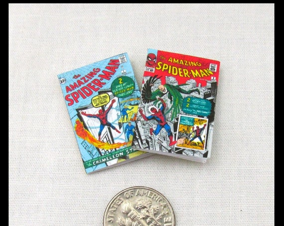 "2 SPIDER-MAN COMIC Books Miniature Books Readable Dollhouse 1:12 Scale 1"" Scale Marvel Movie Adventure Superhero Avengers Marvel Legends"