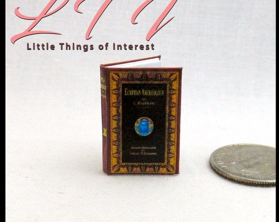 EGYPTIAN ARCHEOLOGY Miniature Dollhouse Book 1:12 Scale Illustrated Readable Papyrus Scroll School Ancient Geography Egypt Pyramid Pharos