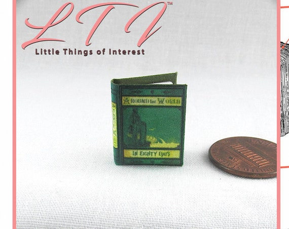 AROUND The WORLD In EIGHTY DaysPrintable Download Pdf Tutorial Dollhouse Miniature Book 1:12 Scale Book Novel Jules Verne 1873