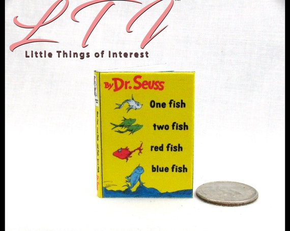 ONE FISH TWO Fish 1:6 Scale Book Readable Illustrated Miniature Book Dr. Seuss Children's Story Book Blythe Pullip Barbie Phicen Scale