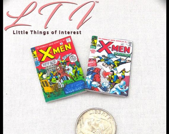 2 Miniature THE X-MEN COMIC Books Miniature Books Readable Dollhouse 1:12 Scale Marvel Movie Adventure Superhero