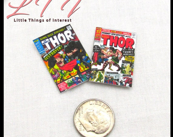 2 THE MIGHTY THOR Comic Books Miniature Dollhouse Readable Comic Book 1:12 Scale Marvel Legends Avengers Super Hero Norse God Thunder Hammer
