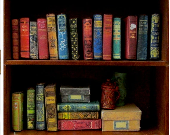 21 DUSTY OLD BOOKS Miniature Books Dollhouse 1:12 Scale Prop Fill a Bookshelf Faux Books Library #2