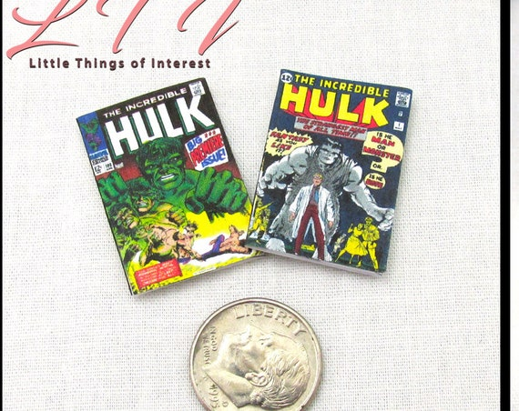 2 Miniature THE INCREDIBLE HULK Comic Books Readable Dollhouse 1:12 Scale Marvel Superhero Issue #1 Dr. Bruce Banner Stan Lee