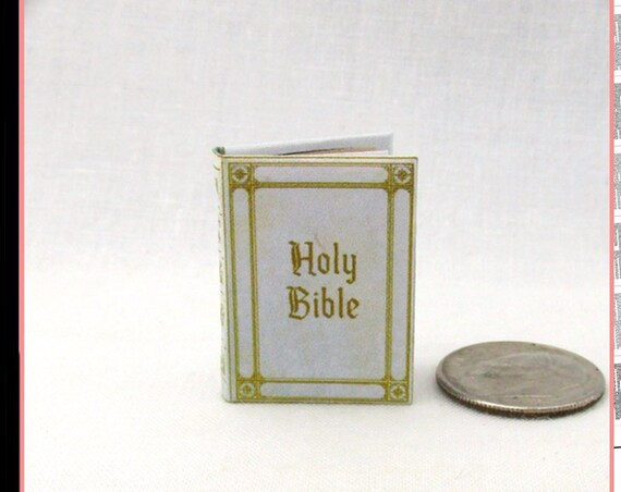 WHITE HOLY Bible PDF Tutorial Download Printable 1:12 Miniature Dollhouse Scale Book Sacred Scripture Religion Psalm Christians God
