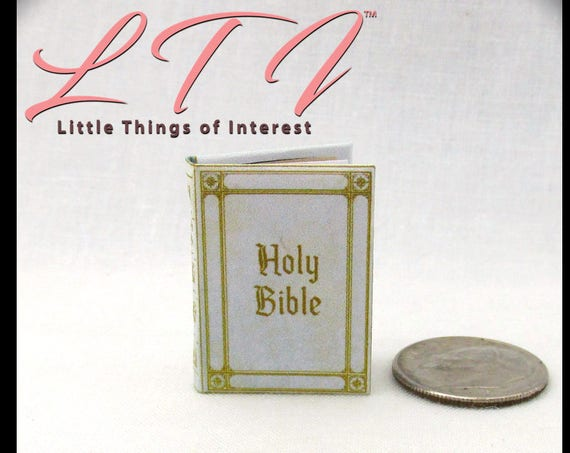 WHITE HOLY Bible Book PDF Tutorial and Download Printable 1:12 Miniature Doll Dollhouse Scale Book Miniature Wedding Confirmation