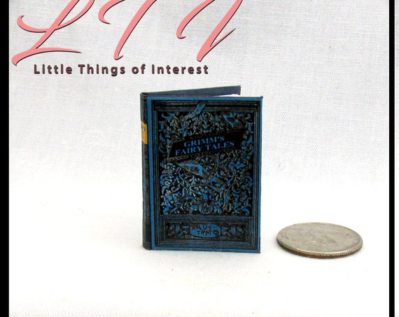 VINTAGE GRIMM'S FAIRY Tales 1:6 Scale Miniature Book Readable Illustrated Book Pre 1900 Rapunzel Rumpelstiltskin Once Upon Time Play Scale