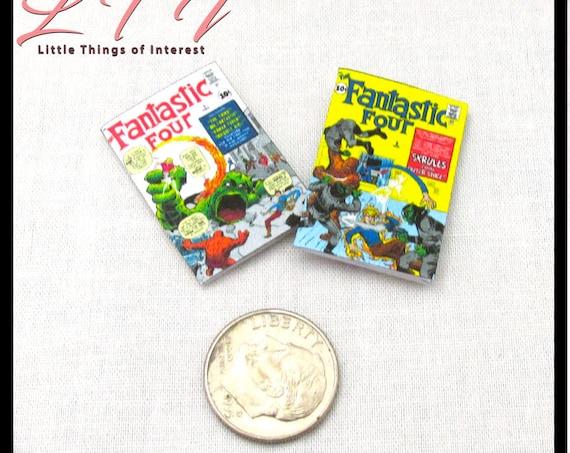 2 FANTASTIC FOUR COMIC Books Miniature Books Readable Dollhouse 1:12 Scale Marvel Superhero Team Issue #1 & #2
