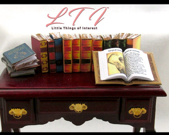 14 MEDICAL BOOKS 1 Open Book Medical Book & 13 Antique Style Prop Books Miniature Dollhouse 1:12 Scale Doctor Library Bookcase Faux Books