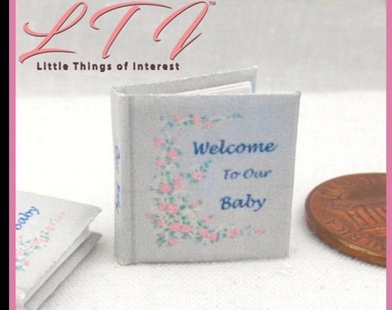BABY BOOK Scrap Book PDF and Tutorial Printie Printable Download 1:12 Miniature Dollhouse Readable Illustrated Book Miniature Accessory
