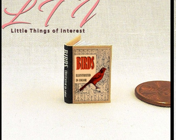 """BIRDS ILLUSTRATED Readable Miniature Book Dollhouse 1:12 Scale 1"""" Scale Book Guide Identify Life History Sounds Ornithologists Twitcher"""